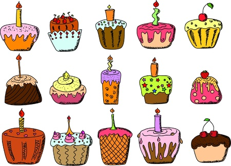 isolated set of cupcake  Stock Vector - 11325410
