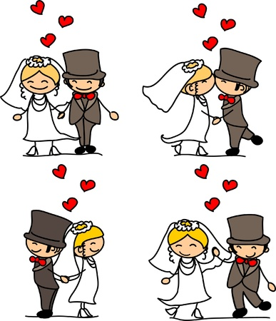 cartoon wedding couple: Lovely wedding the bride and groom