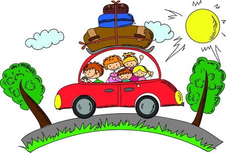 perro familia: Familia en el coche