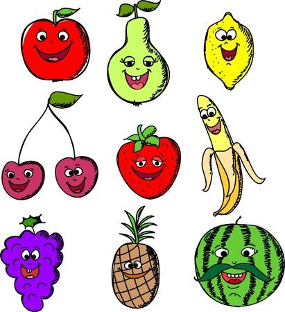 Set cartoon funny of fruits  Vector