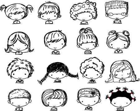 cute little girl smiling: Cartoon faces of children  Illustration