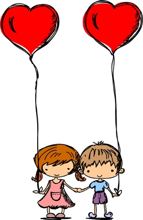 Children hold the balloons in heart shape