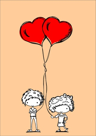 los ni�os lindos de la historieta con globos en forma de coraz�n