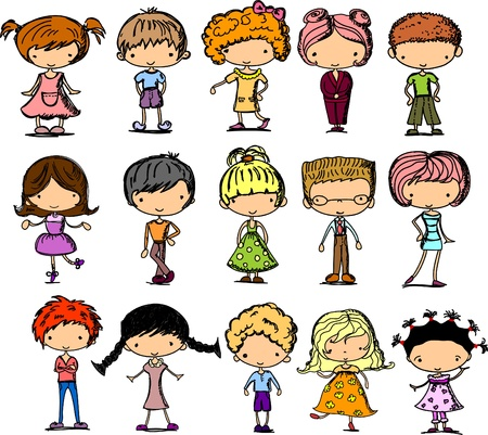 set cartoon children  Vector