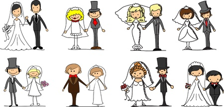 cartoon wedding couple: Set wedding pictures  Illustration