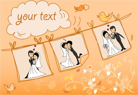 marriage ceremony: Wedding pictures are hanging on a rope