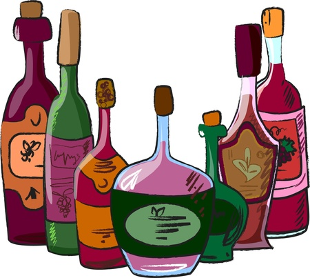 vector collection of wine bottles  Vector