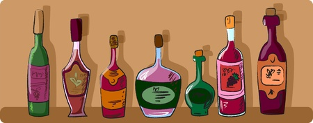 variously: vector collection of wine bottles
