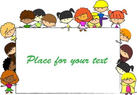 girotondo bambini: graziosi figli, telaio, vettore