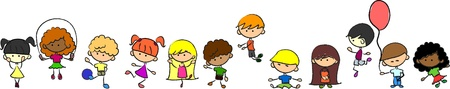 diverse: Happy cute kids play, dance, jump, vector  Illustration