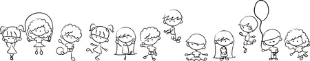 Happy cute kids play, dance, jump, vector  Vector