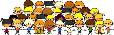 girotondo bambini: graziosi bambini si tengono per mano, il vettore