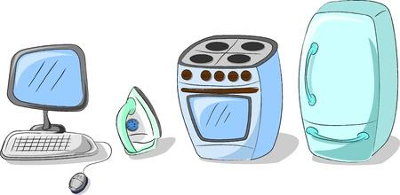 gas stove: vector set home appliances