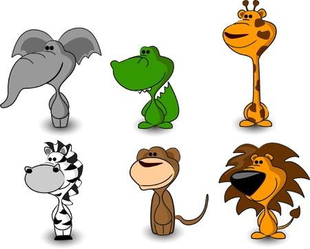 gorila: SET cute animals-tiger, lion, rhino, dog, leopard, hippo
