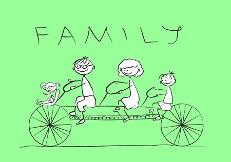 ni�os en bicicleta: Dibujos animados de la familia feliz Vectores