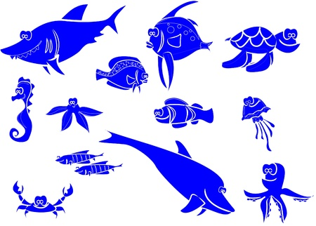 large set of marine fish  Vector