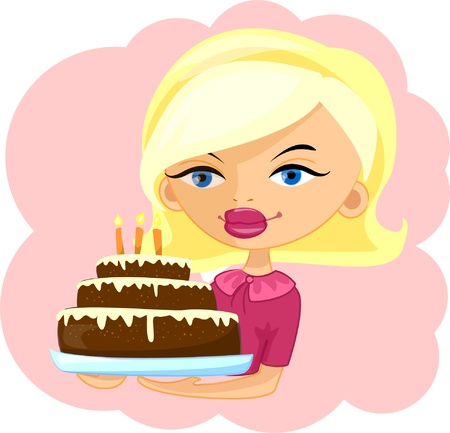 girl with cake  Vector