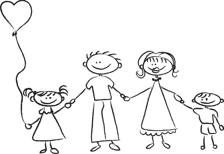 white family: Happy family holding hands Hand drawing Isolated on white background