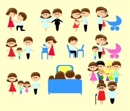 raster illustration: Set Family Icons