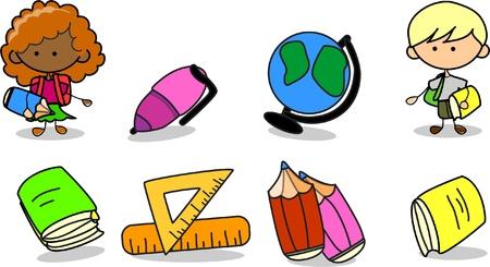 subjects: school supplies, school children, the frame