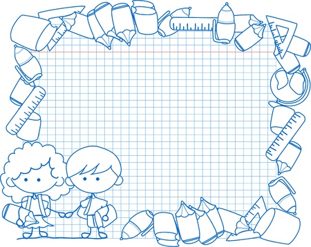 school supplies, school children, the frame  Vector