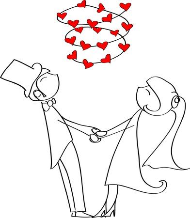 braut und bräutigam: Liebe Braut und Br�utigam Kreis H�ndchen haltend