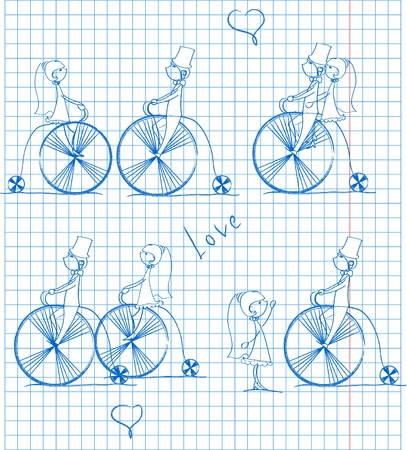 love boy and girl ride a bicycle, a vector  Vector