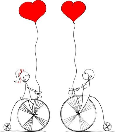 enamorados caricatura: amor por los muchachos y una niña paseo en bicicleta, un vector