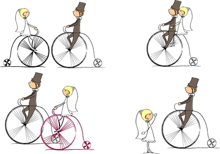 bride groom: vector set of bride and groom riding a bike
