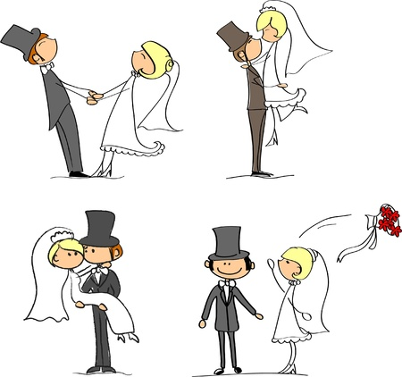 woman throwing: set of wedding pictures, bride and groom in love, vector  Illustration