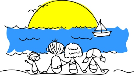 quay: family on the beach watching the sun vector