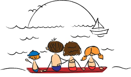 happily: family on the beach watching the sun vector