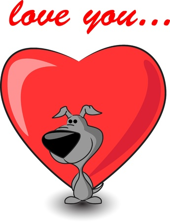 cute puppy keeps heart  Vector