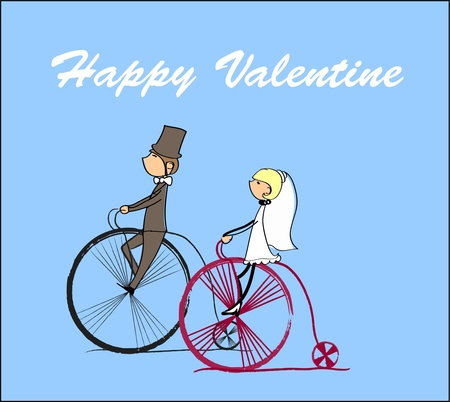 vector bride and groom riding a bike  Vector