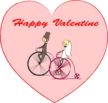 vector bride and groom riding a bike Stock Vector - 11325568