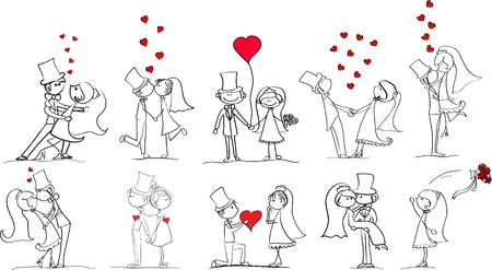 bride and groom illustration: set of wedding pictures, bride and groom in love