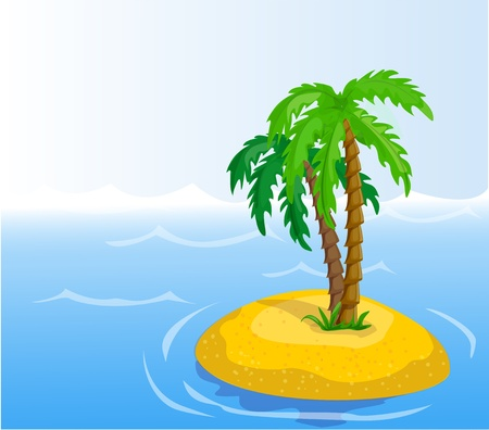 mirage: vector tropical palm trees in the ocean