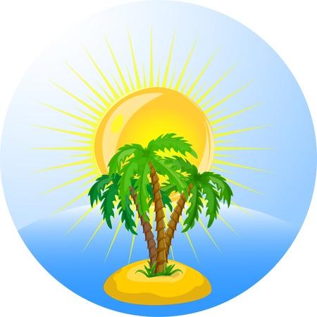 espejismo: vector palmeras tropicales en el oc�ano Vectores