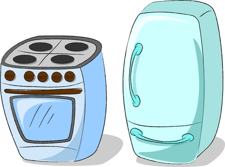 homes: vector cooker and refrigerator, home appliances