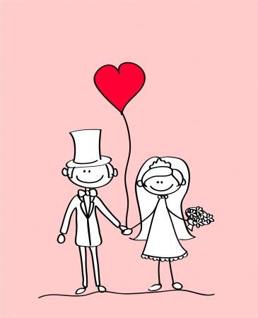 enamorados caricatura: la novia y el novio en una boda, el vector