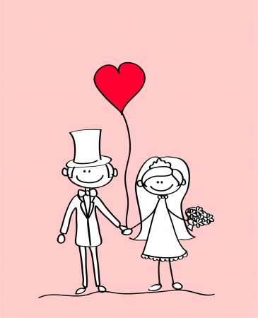 grab: the bride and groom at a wedding, the vector