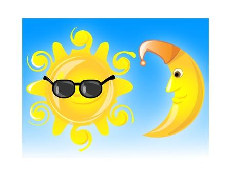 sonne mond und sterne: Wetter icons EPS 10 Illustration