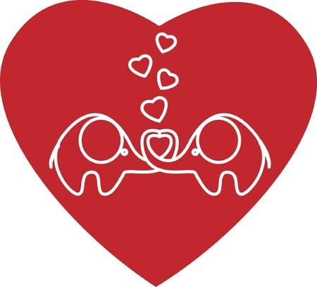 glamorous couple: two lovers an elephant kept heart EPS