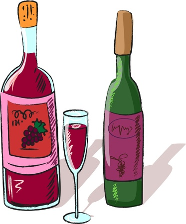 sauvignon: vector collection of wine bottles and a glass  Illustration