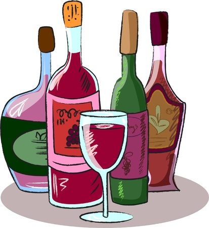 vector collection of wine bottles and a glass  Vector