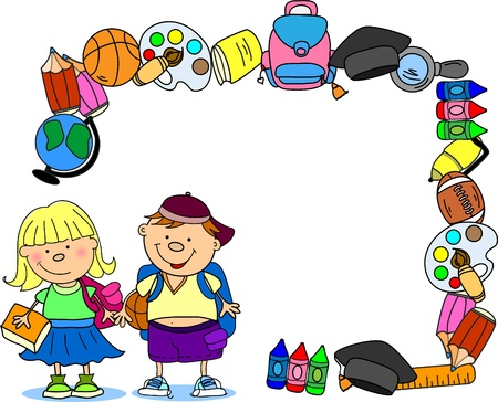 cute schoolboy and schoolgirl, School elements  Vector