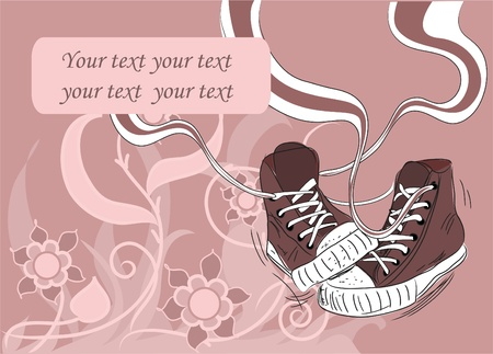 abstract floral background with stylish sneakers  Vector