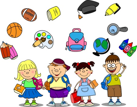 teaching children: cute schoolboys and schoolgirls, School elements