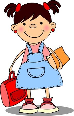 cartoon school girl: escolar, los elementos de la Escuela