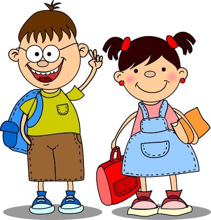 zaino: scolari carino e studentesse, elementi Scuola